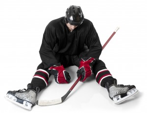 Ice hockey player looking disappointed